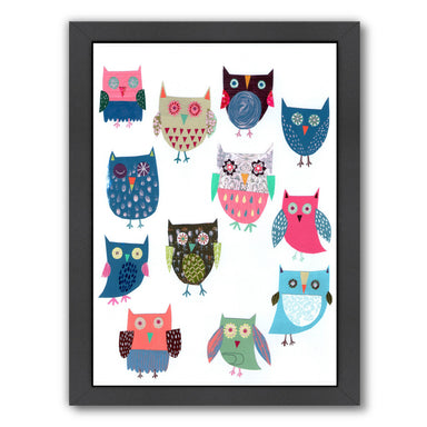 Lots Of Owls By Liz And Kate Pope - Black Framed Print - Wall Art - Americanflat