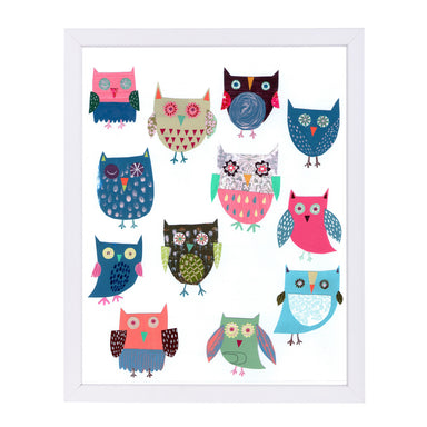 Lots Of Owls By Liz And Kate Pope - White Framed Print - Wall Art - Americanflat