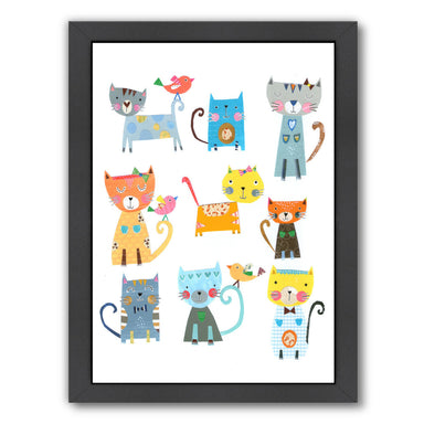 Nine Cute Cats By Liz And Kate Pope - Black Framed Print - Wall Art - Americanflat