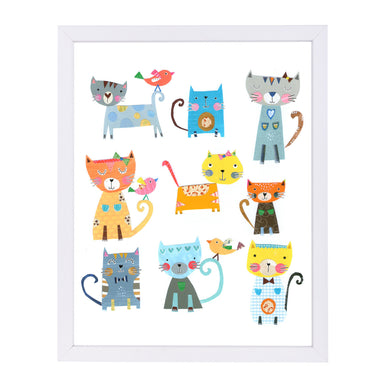 Nine Cute Cats By Liz And Kate Pope - White Framed Print - Wall Art - Americanflat