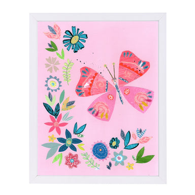 Pink Butterfly With Flowers By Liz And Kate Pope - White Framed Print - Wall Art - Americanflat