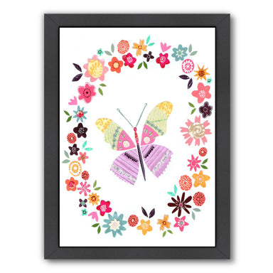 Pretty Pink Butterfly In Flower Frame By Liz And Kate Pope - Black Framed Print - Wall Art - Americanflat