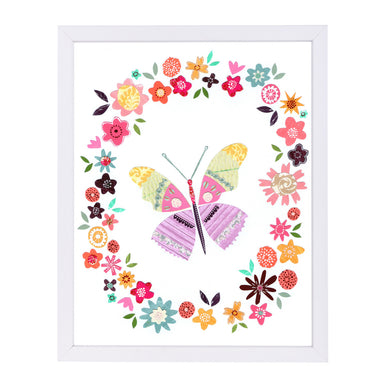 Pretty Pink Butterfly In Flower Frame By Liz And Kate Pope - White Framed Print - Wall Art - Americanflat