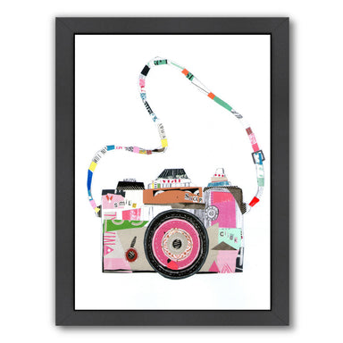 Smile Pink Camera By Liz And Kate Pope - Black Framed Print - Wall Art - Americanflat