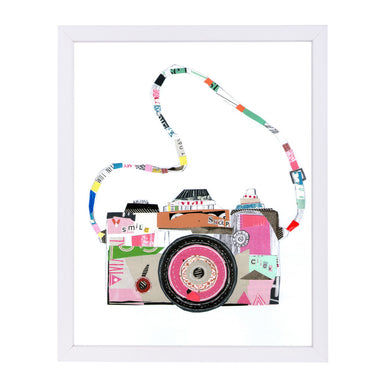Smile Pink Camera By Liz And Kate Pope - White Framed Print - Wall Art - Americanflat