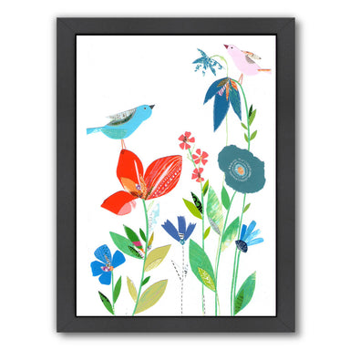 Spring Flowers & Birds By Liz And Kate Pope - Black Framed Print - Wall Art - Americanflat
