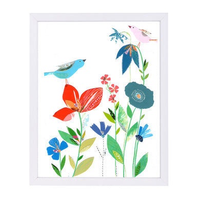 Spring Flowers & Birds By Liz And Kate Pope - White Framed Print - Wall Art - Americanflat
