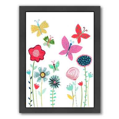 Summer Flowers & Butterflies By Liz And Kate Pope - Black Framed Print - Wall Art - Americanflat
