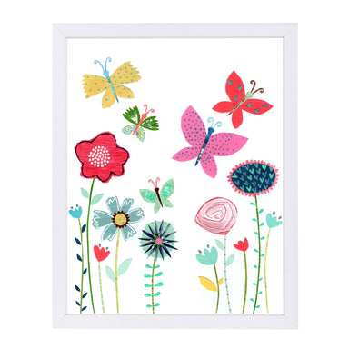 Summer Flowers & Butterflies By Liz And Kate Pope - White Framed Print - Wall Art - Americanflat