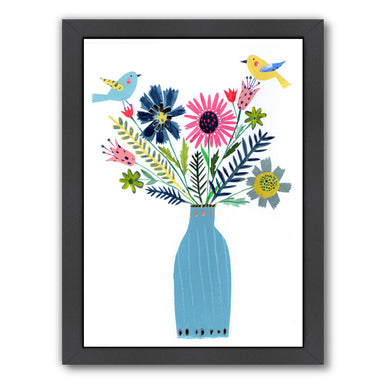 Tall Blue Vase Flowers & Birds By Liz And Kate Pope - Black Framed Print - Wall Art - Americanflat