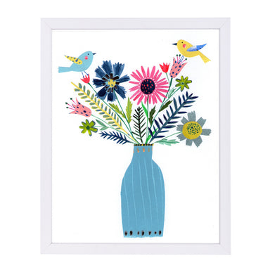 Tall Blue Vase Flowers & Birds By Liz And Kate Pope - White Framed Print - Wall Art - Americanflat