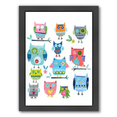 Tweleve Collaged Owls By Liz And Kate Pope - Black Framed Print - Wall Art - Americanflat