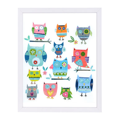 Tweleve Collaged Owls By Liz And Kate Pope - White Framed Print - Wall Art - Americanflat