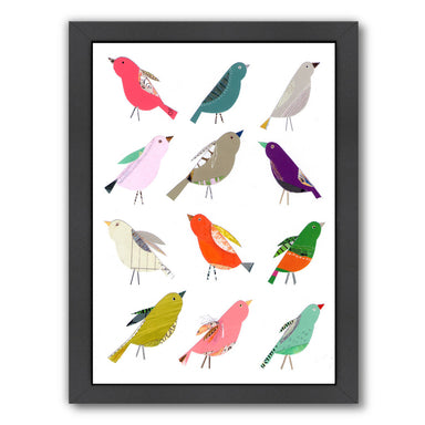 Twelve Collaged Birds By Liz And Kate Pope - Black Framed Print - Wall Art - Americanflat
