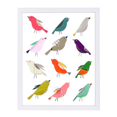 Twelve Collaged Birds By Liz And Kate Pope - White Framed Print - Wall Art - Americanflat