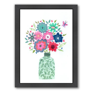 Vase & Flowers By Liz And Kate Pope - Black Framed Print - Wall Art - Americanflat