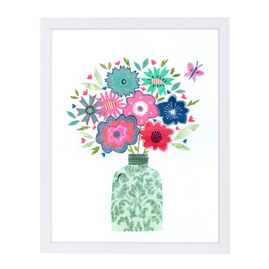 Vase & Flowers By Liz And Kate Pope - White Framed Print - Wall Art - Americanflat