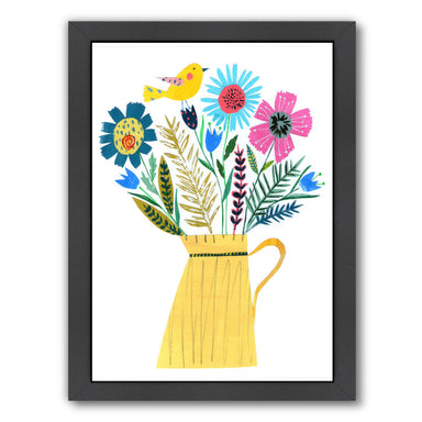 Yellow Jug & Flowers By Liz And Kate Pope - Black Framed Print - Wall Art - Americanflat