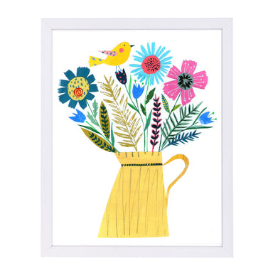 Yellow Jug & Flowers By Liz And Kate Pope - White Framed Print - Wall Art - Americanflat
