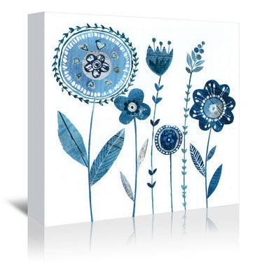 Blue Flowers With Stems By Liz And Kate Pope - Wrapped Canvas - Wrapped Canvas - Americanflat