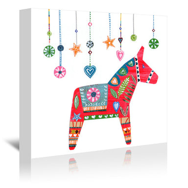 Christmas Dala Horse By Liz And Kate Pope - Wrapped Canvas - Wrapped Canvas - Americanflat