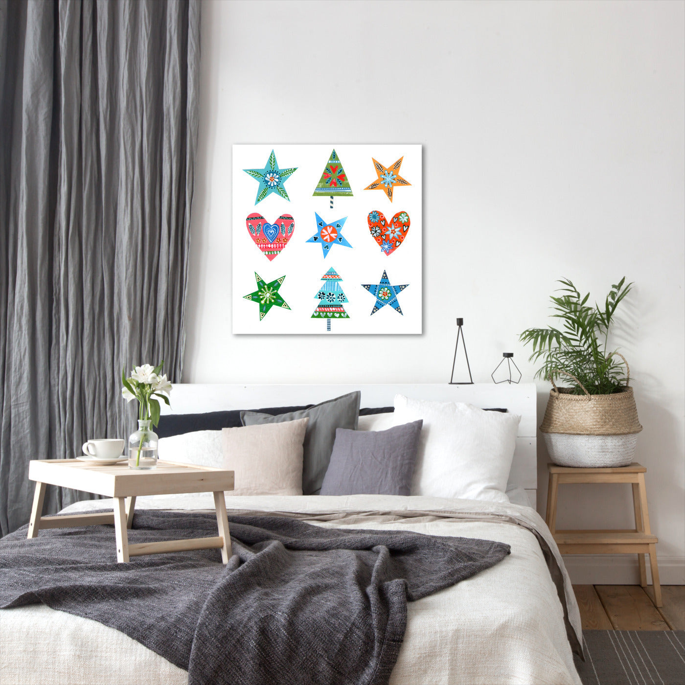 Christmas Trees Stars Hearts By Liz And Kate Pope - Wrapped Canvas - Wrapped Canvas - Americanflat