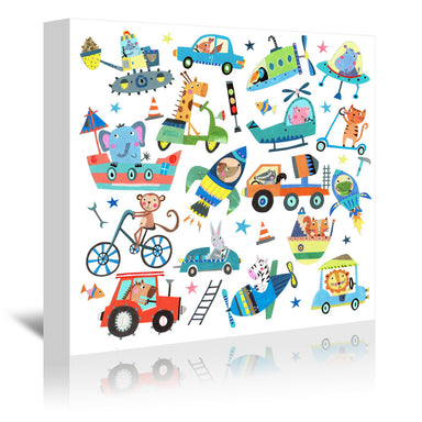 Cute Animals In Vehicles By Liz And Kate Pope - Wrapped Canvas - Wrapped Canvas - Americanflat