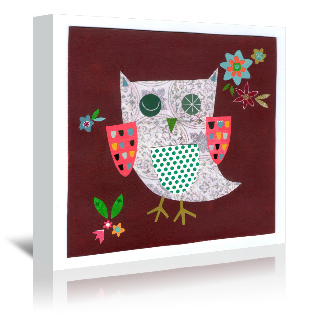 Owl With Pink Wings By Liz And Kate Pope - Wrapped Canvas - Wrapped Canvas - Americanflat