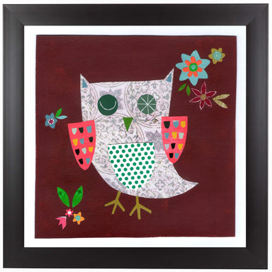 Owl With Pink Wings by Liz and Kate Pope Black Framed Print - Wall Art - Americanflat