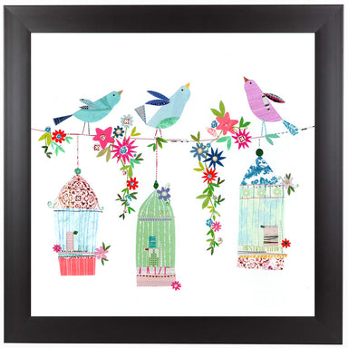 Pretty Bird Cages by Liz and Kate Pope Black Framed Print - Wall Art - Americanflat