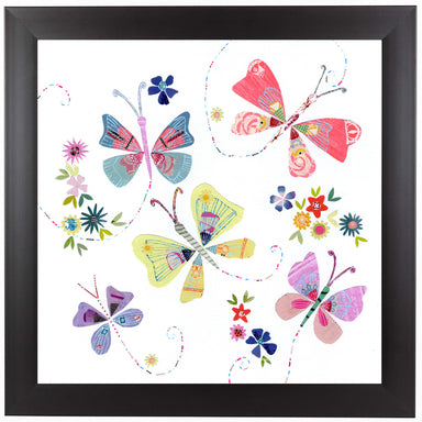 Pretty Flying Butterflies by Liz and Kate Pope Black Framed Print - Wall Art - Americanflat