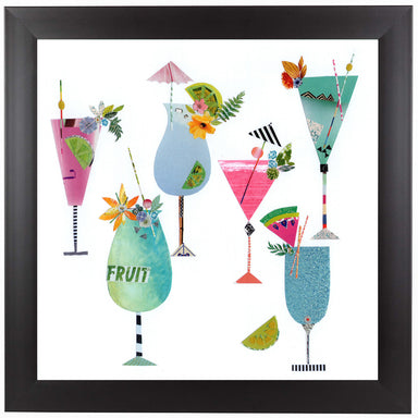 Six Fruity Cocktails by Liz and Kate Pope Black Framed Print - Wall Art - Americanflat