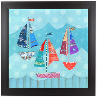 Three Sailing Boats On Blue by Liz and Kate Pope Black Framed Print - Wall Art - Americanflat