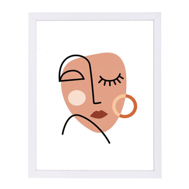 Abstract Woman Face By Elena David - White Framed Print - Wall Art - Americanflat