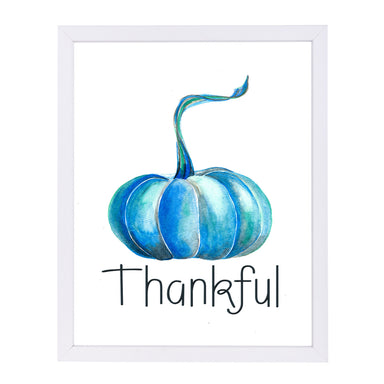 Pumpkin Thankful By Tj Heiser - White Framed Print - Wall Art - Americanflat