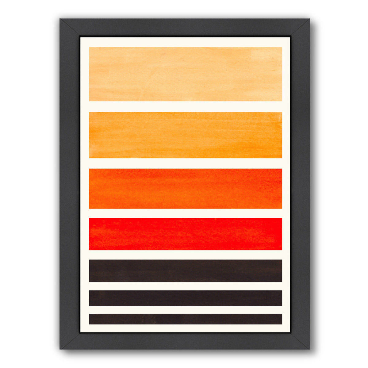 Orange Staggered Stripes By Ejaaz Haniff - Black Framed Print - Wall Art - Americanflat