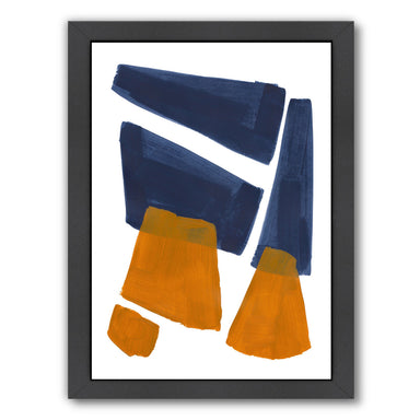 Navy Ochre Shards By Ejaaz Haniff - Black Framed Print - Wall Art - Americanflat