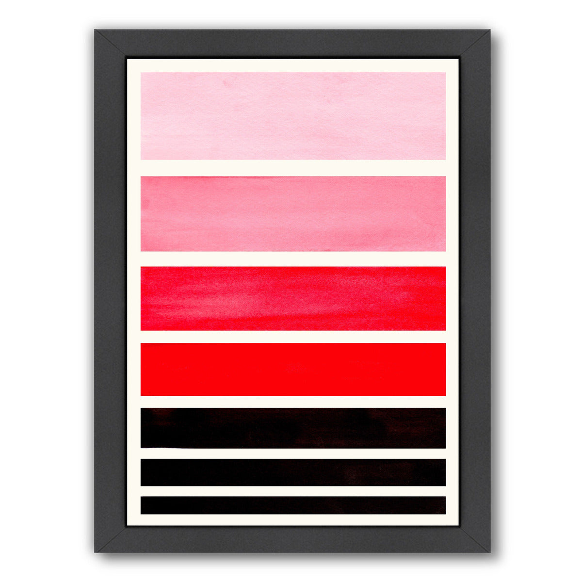 Red Staggered Stripes By Ejaaz Haniff - Black Framed Print - Wall Art - Americanflat