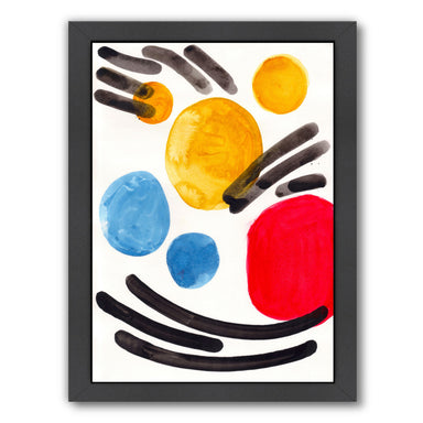 Primary Watercolor Bubbles By Ejaaz Haniff - Black Framed Print - Wall Art - Americanflat