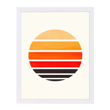 Orange Staggered Sunset By Ejaaz Haniff - White Framed Print - Wall Art - Americanflat