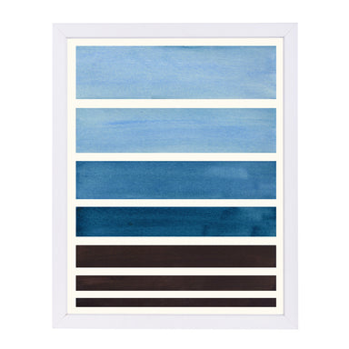 Navy Staggered Stripes By Ejaaz Haniff - White Framed Print - Wall Art - Americanflat