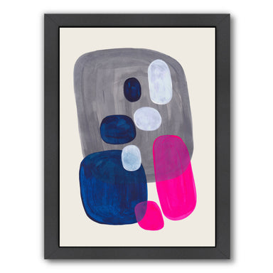 Magenta Navy Grey Pebbles By Ejaaz Haniff - Black Framed Print - Wall Art - Americanflat