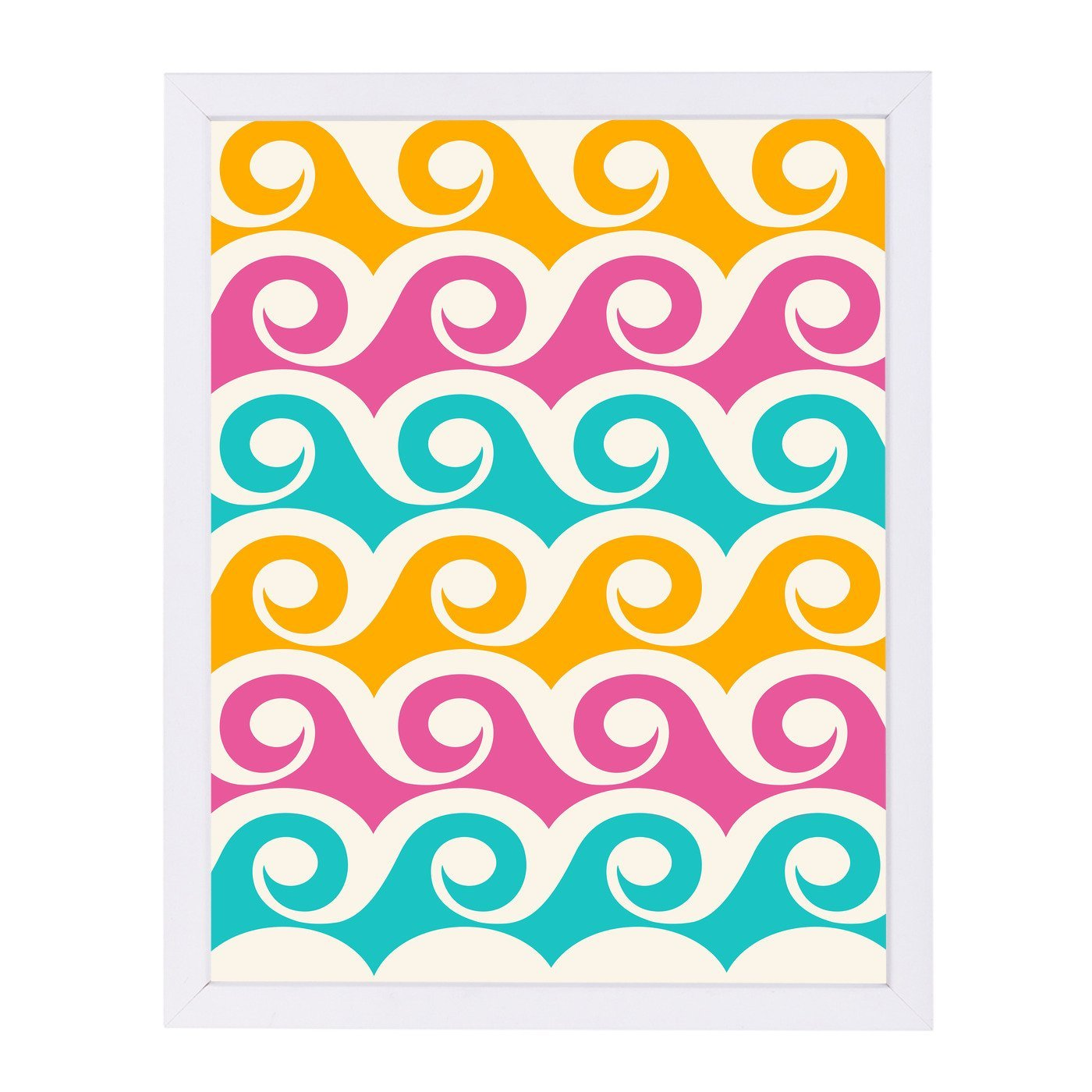 Bright Tropical Waves By Modern Tropical - White Framed Print - Wall Art - Americanflat