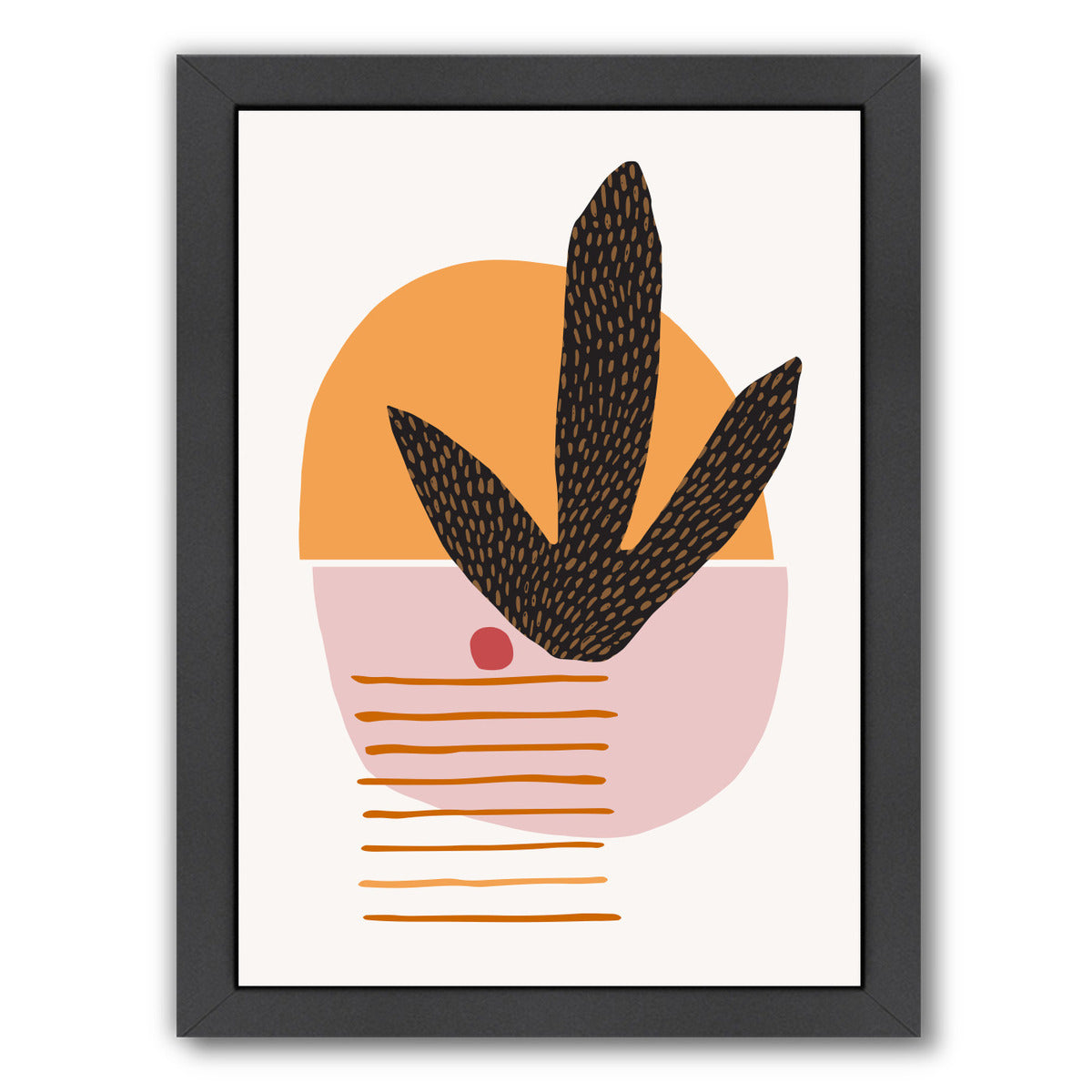 Cactus And Cherry By Modern Tropical - Black Framed Print - Wall Art - Americanflat