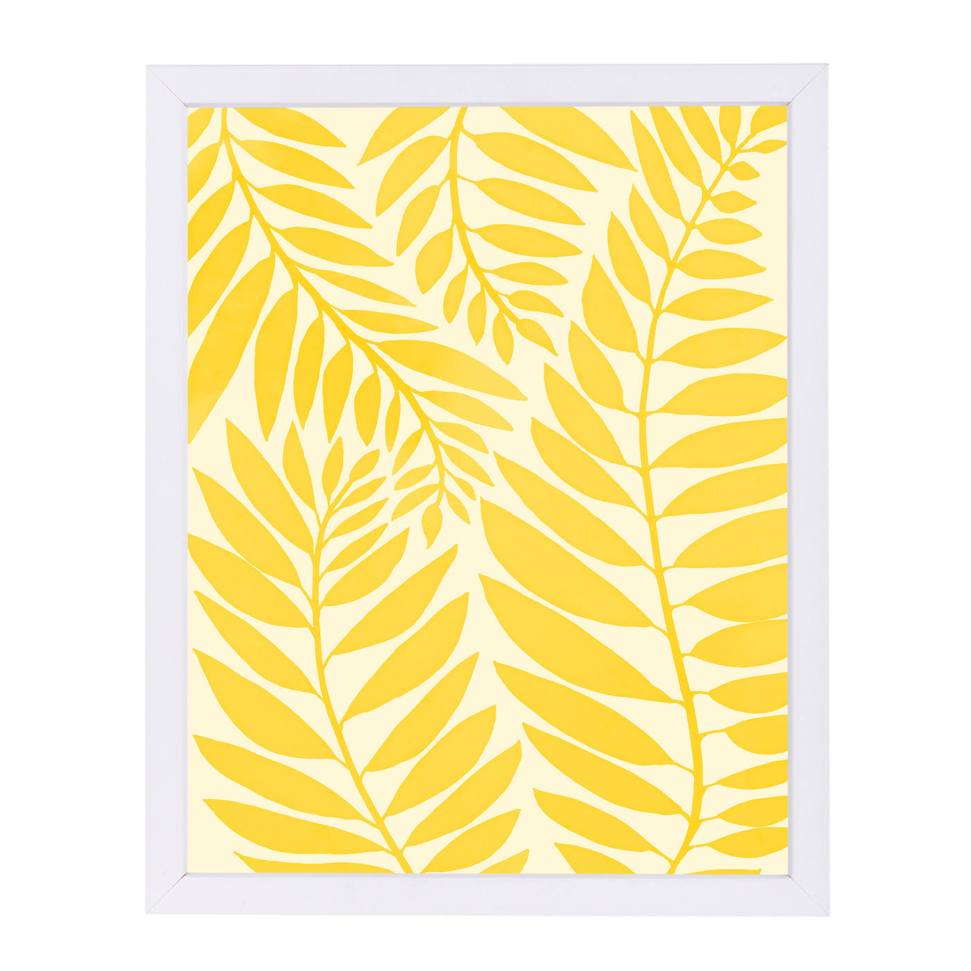 "Golden Yellow Leaves  By Modern Tropical - White Framed Print, Wall Art, Modern Tropical, 8"" x 10"""
