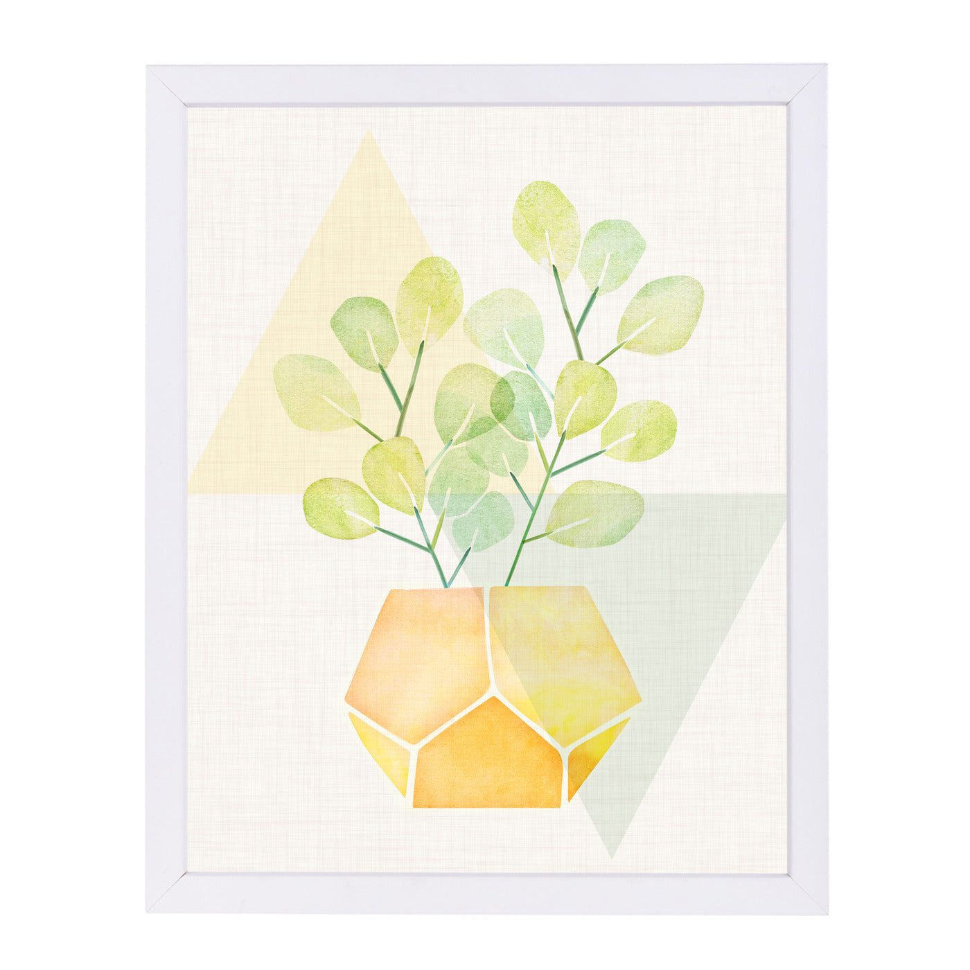 House Plant With Geometrics By Modern Tropical - White Framed Print - Wall Art - Americanflat