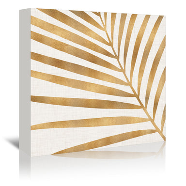 Gold Palm Leaf By Modern Tropical - Wrapped Canvas - Wrapped Canvas - Americanflat