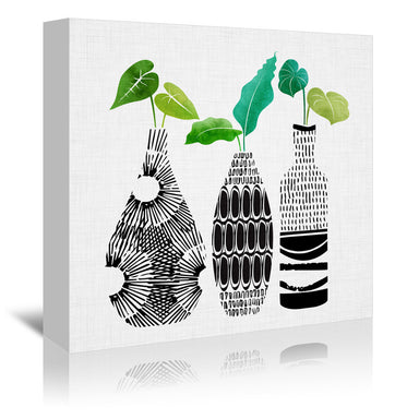 "Tribal Vase Trio By Modern Tropical - Wrapped Canvas, Modern Tropical, Wrapped Canvas, 16"" x 16"""