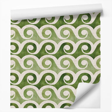 "18' L x 24"" W Peel & Stick Wallpaper Roll - Retro Waves In Green by Modern Tropical - Wallpaper - Americanflat"