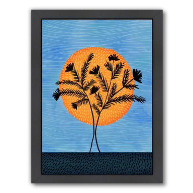 Sunset Silhouette By Modern Tropical - Black Framed Print - Wall Art - Americanflat